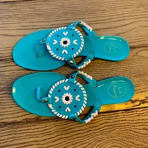 Jack Rodgers Teal and White Sandals Size 9